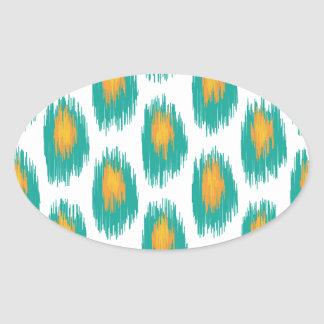 Teal Orange Abstract Tribal Ikat Circle Pattern Stickers