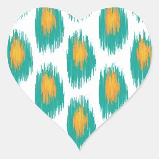 Teal Orange Abstract Tribal Ikat Circle Pattern Heart Sticker