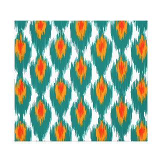 Teal Orange Abstract Tribal Ikat Diamond Pattern Gallery Wrapped Canvas