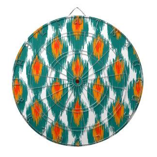 Teal Orange Abstract Tribal Ikat Diamond Pattern Dartboards