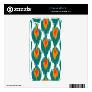 Teal Orange Abstract Tribal Ikat Diamond Pattern Decals For iPhone 4