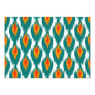 Teal Orange Abstract Tribal Ikat Diamond Pattern Custom Invites