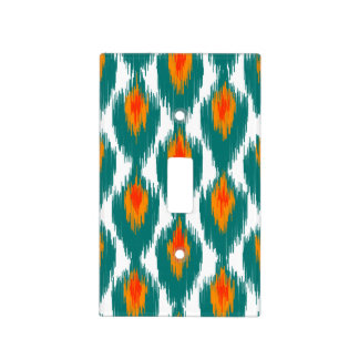 Teal Orange Abstract Tribal Ikat Diamond Pattern Light Switch Plates