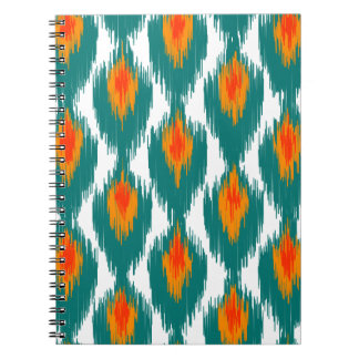 Teal Orange Abstract Tribal Ikat Diamond Pattern Spiral Notebooks