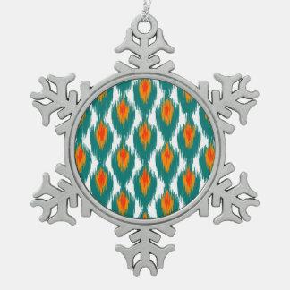 Teal Orange Abstract Tribal Ikat Diamond Pattern Ornament