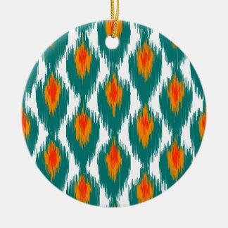 Teal Orange Abstract Tribal Ikat Diamond Pattern Christmas Tree Ornament