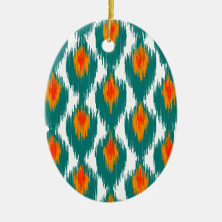 Teal Orange Abstract Tribal Ikat Diamond Pattern Christmas Tree Ornaments