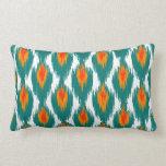 Teal Orange Abstract Tribal Ikat Diamond Pattern Throw Pillows