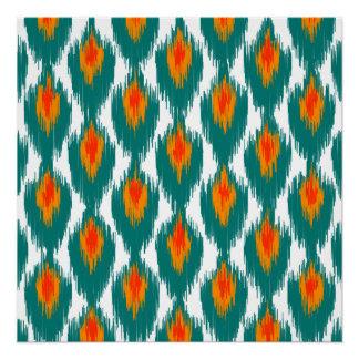 Teal Orange Abstract Tribal Ikat Diamond Pattern Poster