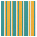 [ Thumbnail: Teal, Orange, and Bisque Stripes/Lines Pattern Fabric ]
