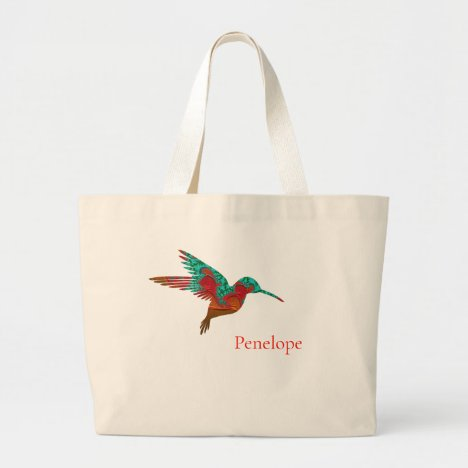 Teal Orange and Red Fractal Hummingbird with Name Large Tote Bag