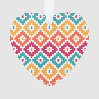 Teal Orange Aztec Tribal Print Ikat Diamond Pattrn