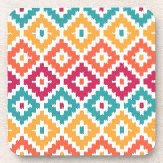 Teal Orange Aztec Tribal Print Ikat Diamond Pattrn Beverage Coaster