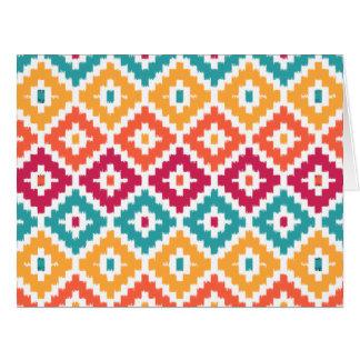 Teal Orange Aztec Tribal Print Ikat Diamond Pattrn Card