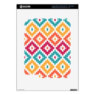 Teal Orange Aztec Tribal Print Ikat Diamond Pattrn iPad 3 Decal