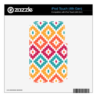 Teal Orange Aztec Tribal Print Ikat Diamond Pattrn iPod Touch 4G Skins