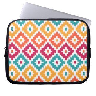 Teal Orange Aztec Tribal Print Ikat Diamond Pattrn Laptop Sleeves