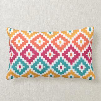 Teal Orange Aztec Tribal Print Ikat Diamond Pattrn Lumbar Pillow