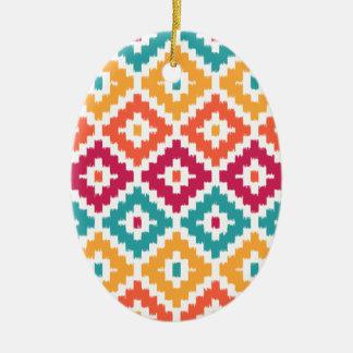 Teal Orange Aztec Tribal Print Ikat Diamond Pattrn Ornament