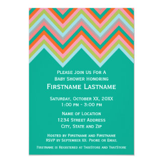 Teal & Orange Chevron Pattern Baby Shower 5x7 Paper Invitation Card