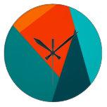 Teal & Orange Color Wall Clock