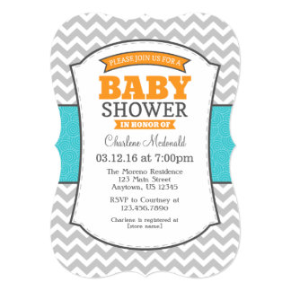 Teal Orange Gray Chevron Baby Shower Invitation