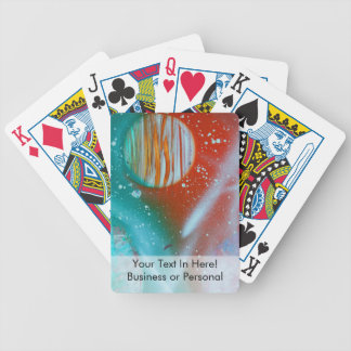 teal orange red planets spacepainting bicycle playing cards