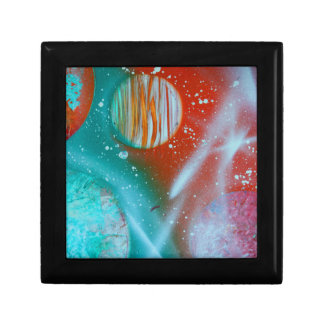 teal orange red planets spacepainting jewelry box