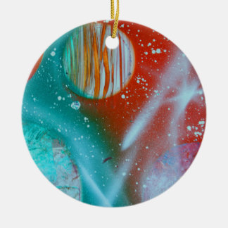 teal orange red planets spacepainting Double-Sided ceramic round christmas ornament
