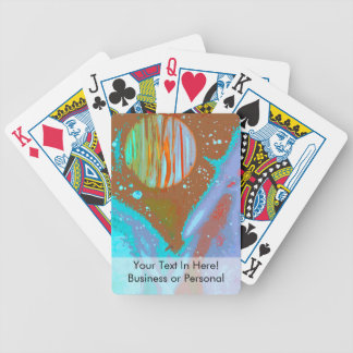 teal orange red planets spacepainting poster bicycle playing cards