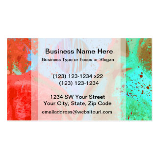 teal orange red planets spacepainting poster business card