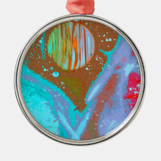 teal orange red planets spacepainting poster round metal christmas ornament