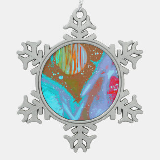 teal orange red planets spacepainting poster snowflake pewter christmas ornament