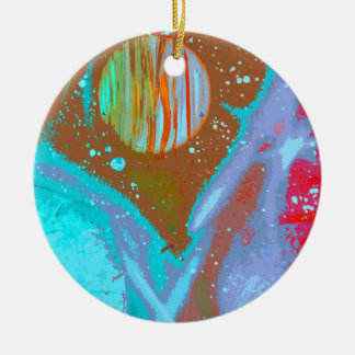 teal orange red planets spacepainting poster Double-Sided ceramic round christmas ornament