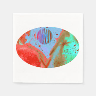 teal orange red planets spacepainting poster paper napkin
