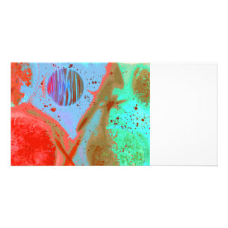 teal orange red planets spacepainting poster photo card