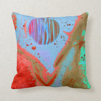teal orange red planets spacepainting poster pillow