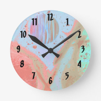 teal orange red planets spacepainting poster round clock