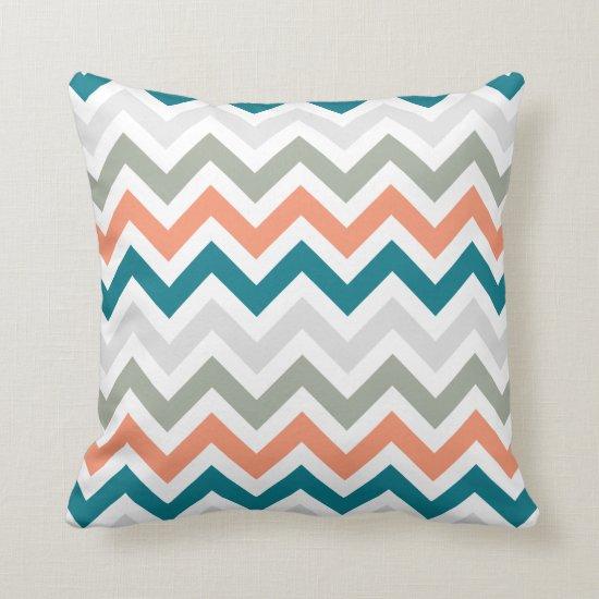 Teal Orange Sage Gray Chevron Zigzag Pattern Throw Pillow