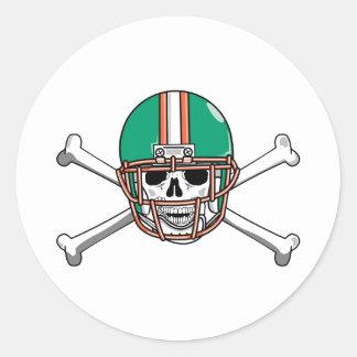 Teal & Orange Skull & Crossbones Football Classic Round Sticker