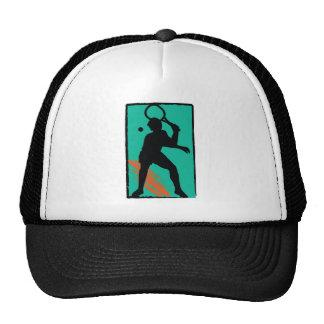 Teal orange tennis silhouette trucker hat