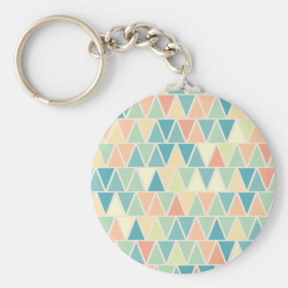 Teal Orange Triangle Pattern Keychain