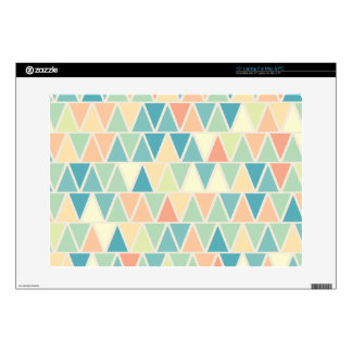 Teal Orange Triangle Pattern Laptop Decals