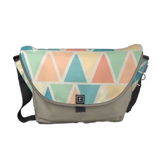 Teal Orange Triangle Pattern Messenger Bag