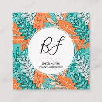 Teal & Orange Urban Jungle Leaves Business Card