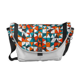 Teal Orange White Black Stained Glass Tile Pattern Courier Bag