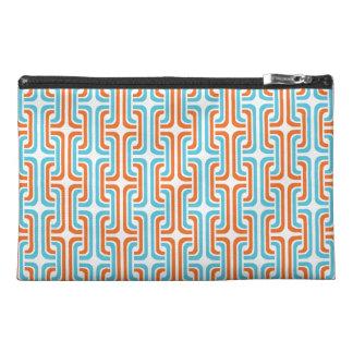 Teal & Orangel Rozel Pattern Travel Accessory Bag