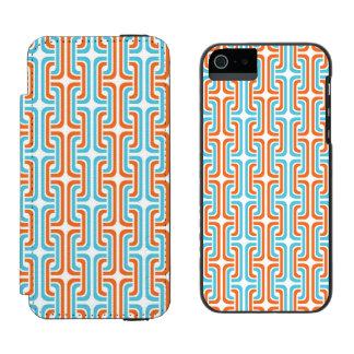 Teal & Orangel Rozel Pattern Wallet Case For iPhone SE/5/5s