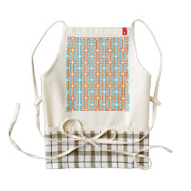 Teal & Orangel Rozel Pattern Zazzle HEART Apron