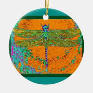 Teal-Orangy Dragonfly Gifts by Sharles Ceramic Ornament